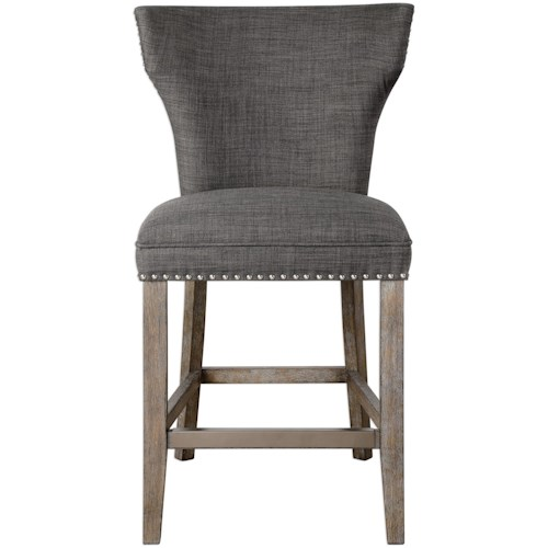 Uttermost Accent Furniture Arnaud Charcoal Counter Stool