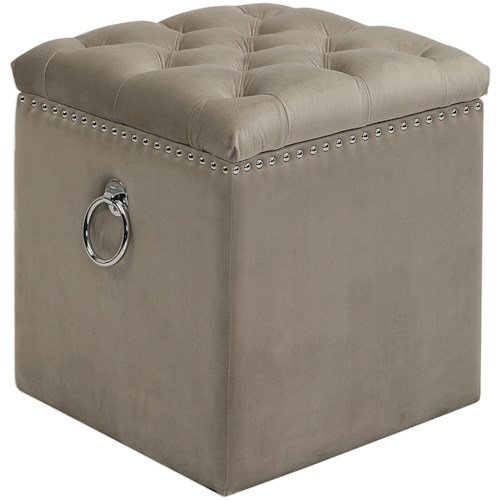 Uttermost Accent Furniture Talullah Tufted Storage Ottoman