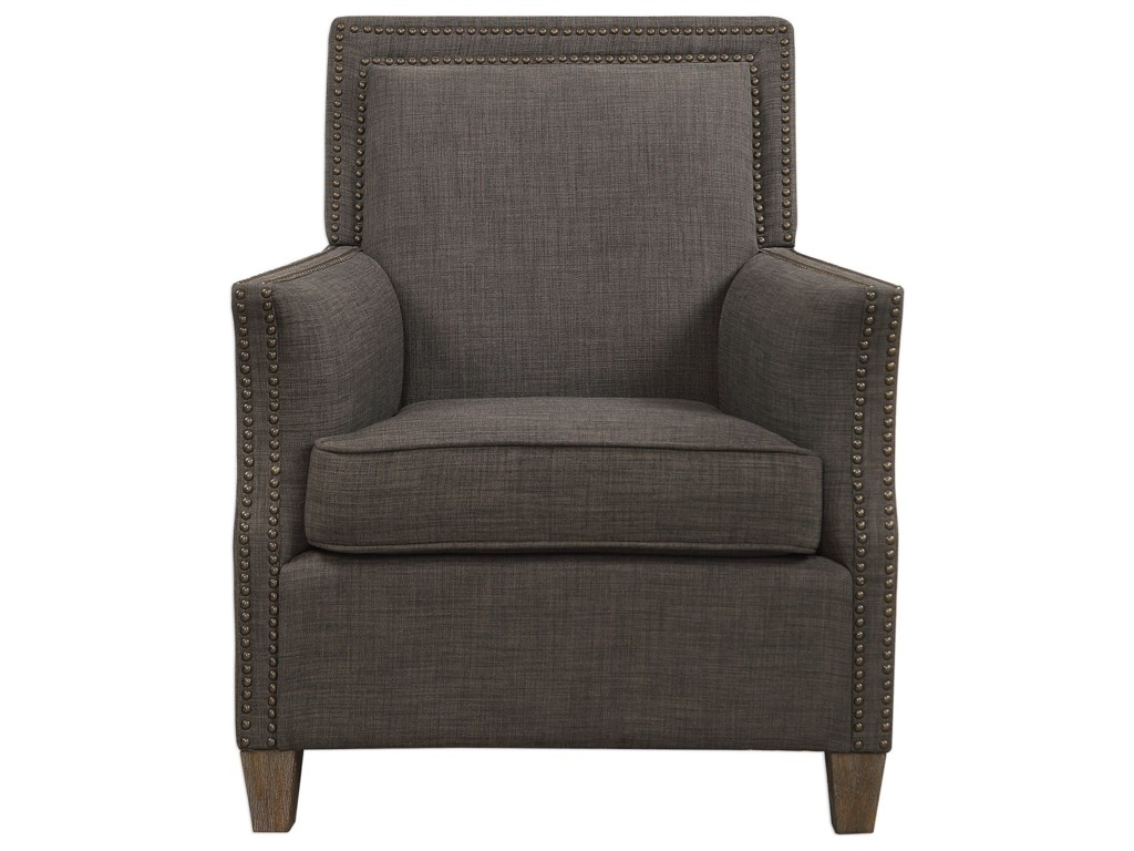 Uttermost Accent Furniture - Accent ChairsDarick Charcoal Armchair