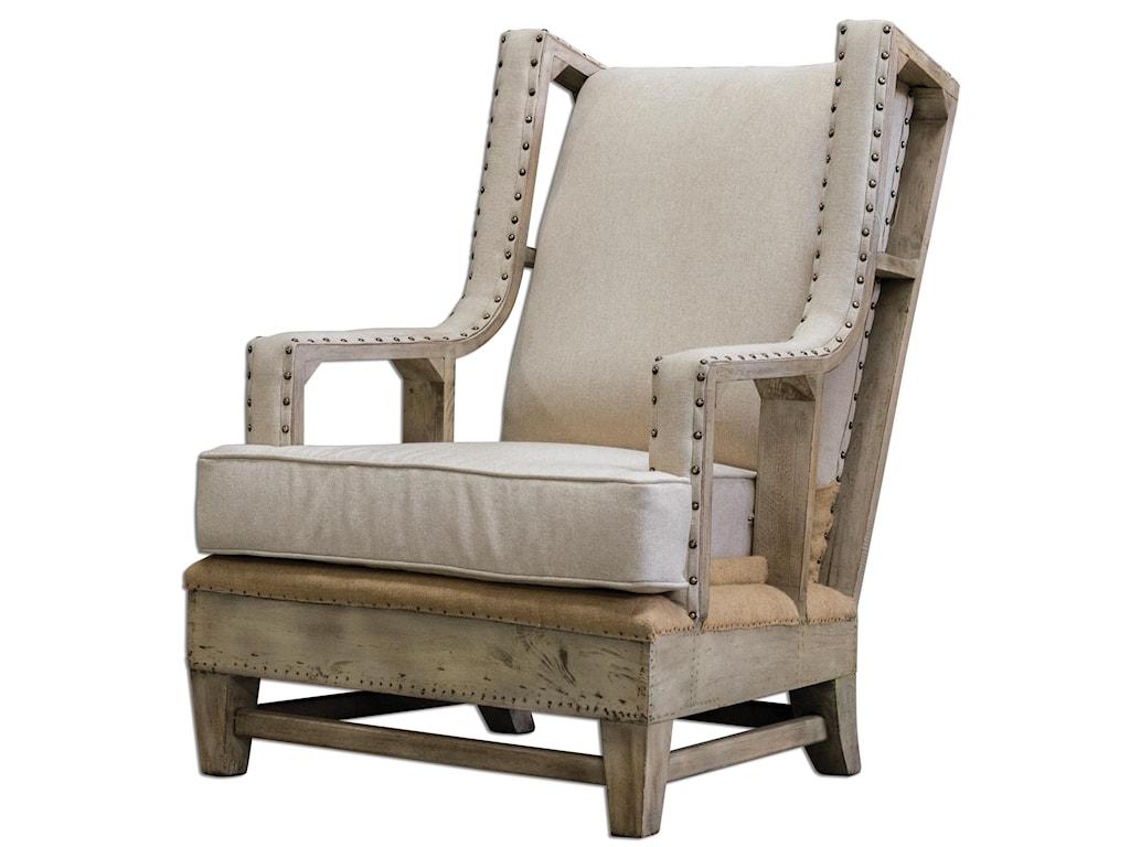Uttermost Accent Furniture - Accent ChairsSchafer Linen Arm Chair