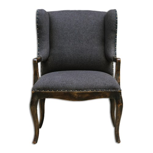 Uttermost Accent Furniture Chione Black Armchair