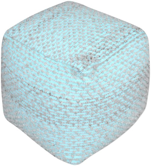 Uttermost Accent Furniture Valda Aqua Wool Pouf