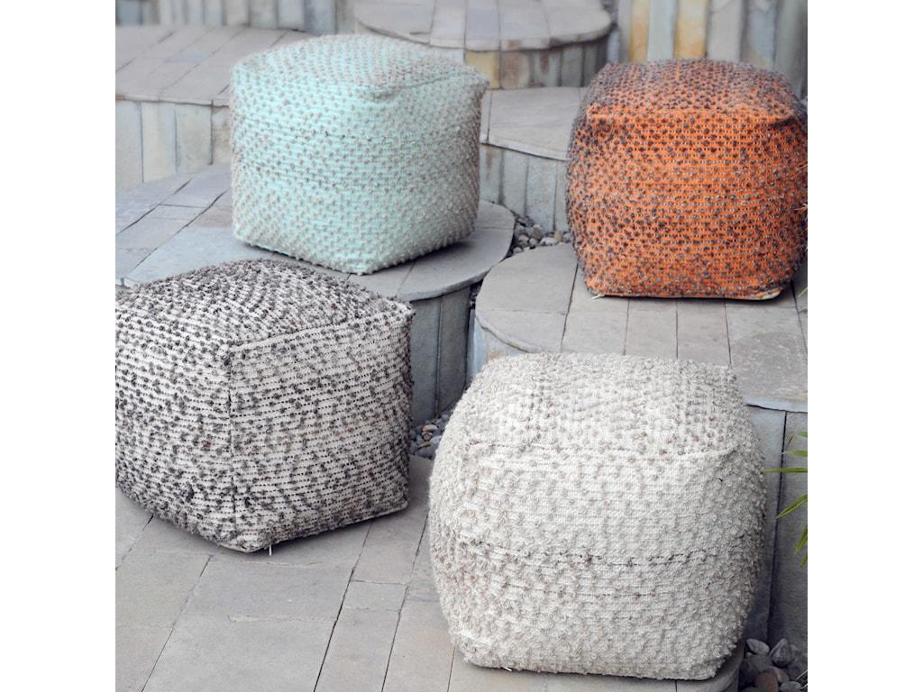 Uttermost Accent FurnitureValda Orange Wool Pouf