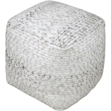 Valda Gray Wool Pouf