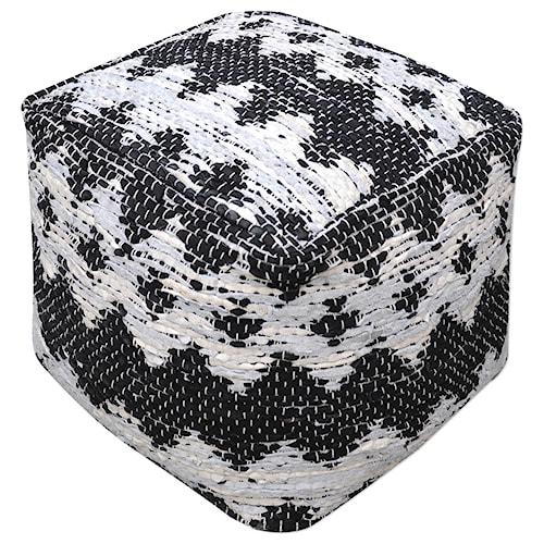 Uttermost Accent Furniture Rewa Ivory/Black Pouf