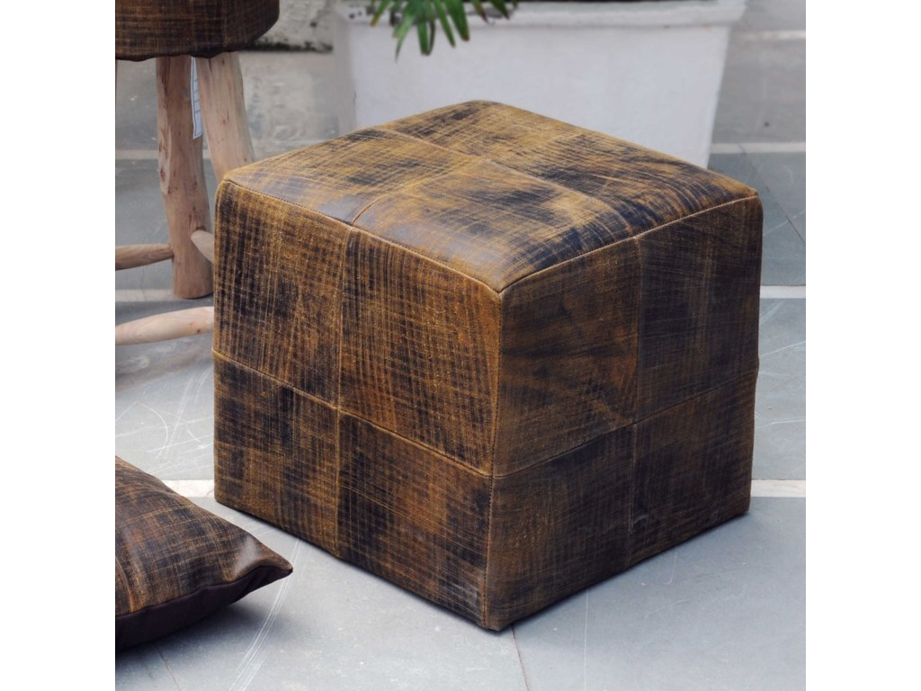 Uttermost Accent FurnitureChivaso Leather Cube Ottoman