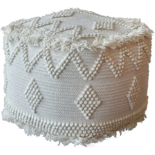 Uttermost Accent Furniture Uriah Ivory Pouf
