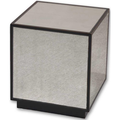 Uttermost Accent Furniture Matty Mirrored Cube Modern End Table