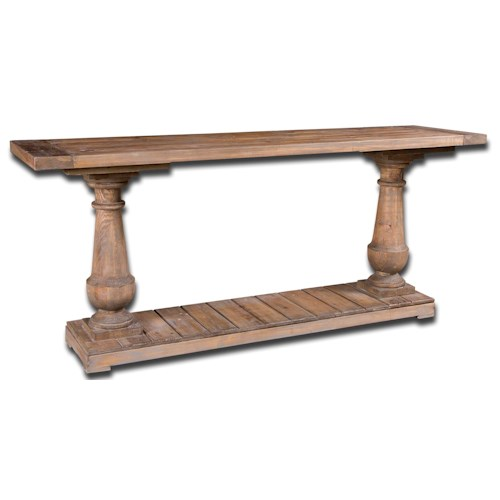 Uttermost Accent Furniture Stratford Weathered Console Table with Columns