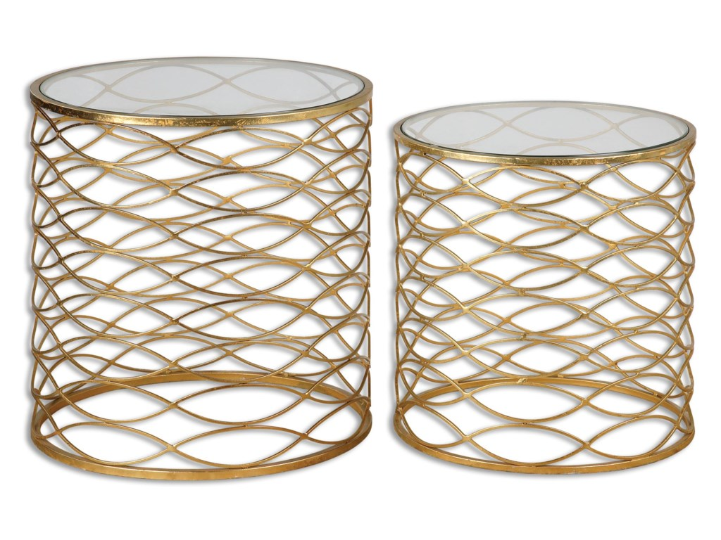 Uttermost Accent Furniture - Occasional TablesZoa Gold Accent Tables Set/2
