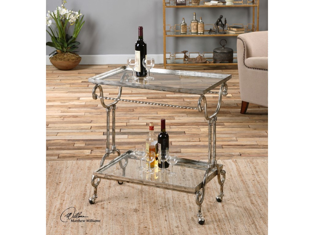 Uttermost Accent FurnitureAcasia Silver Tea Cart