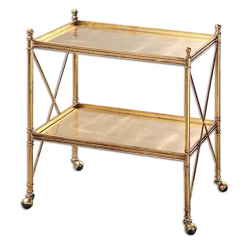Uttermost Accent Furniture Amaranto Gold Serving Cart