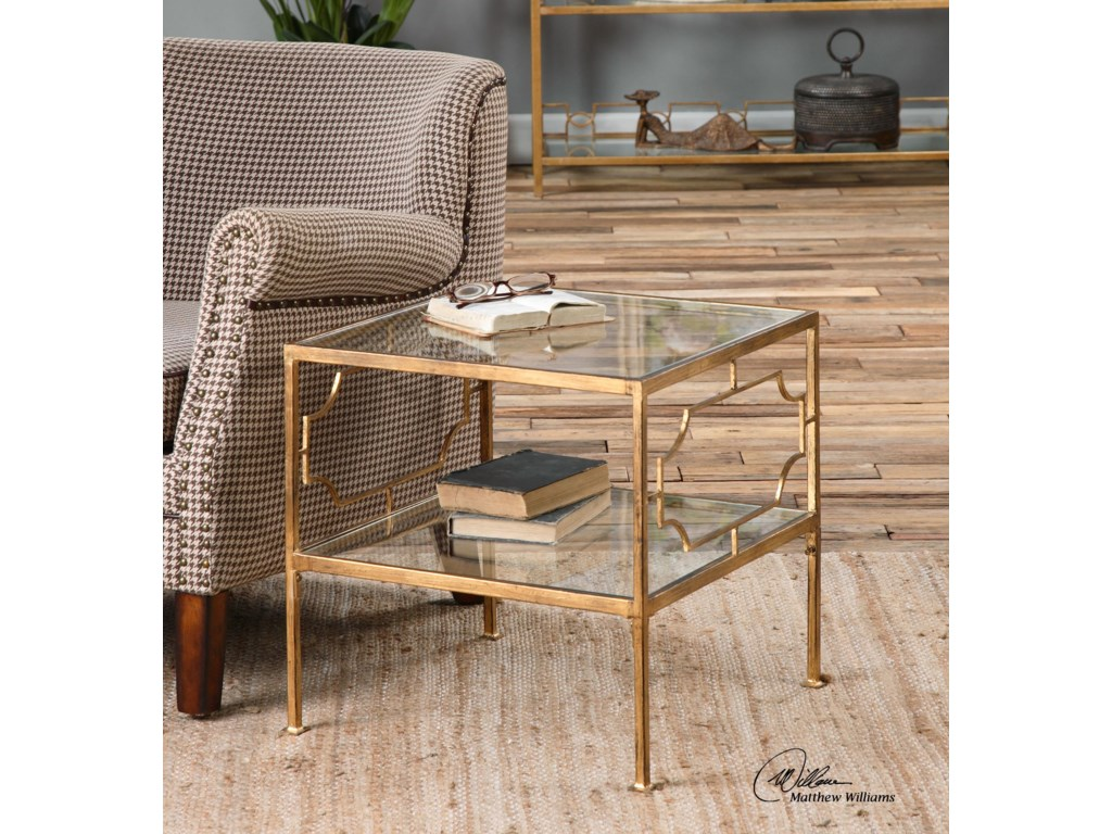Uttermost Accent Furniture - Occasional TablesGenell Gold Cube Table