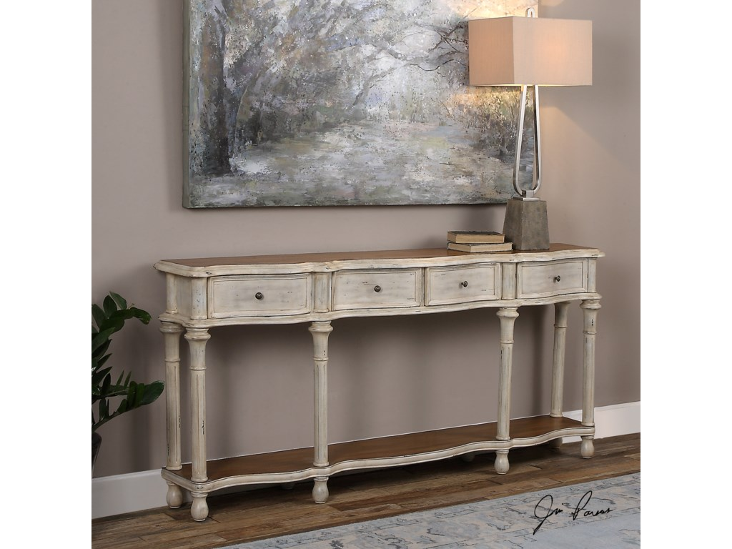 Uttermost Accent FurnitureGaultier Aged White Console Table