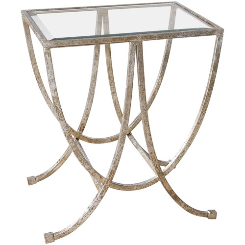 Uttermost Accent Furniture Marta Antiqued Silver Side Table