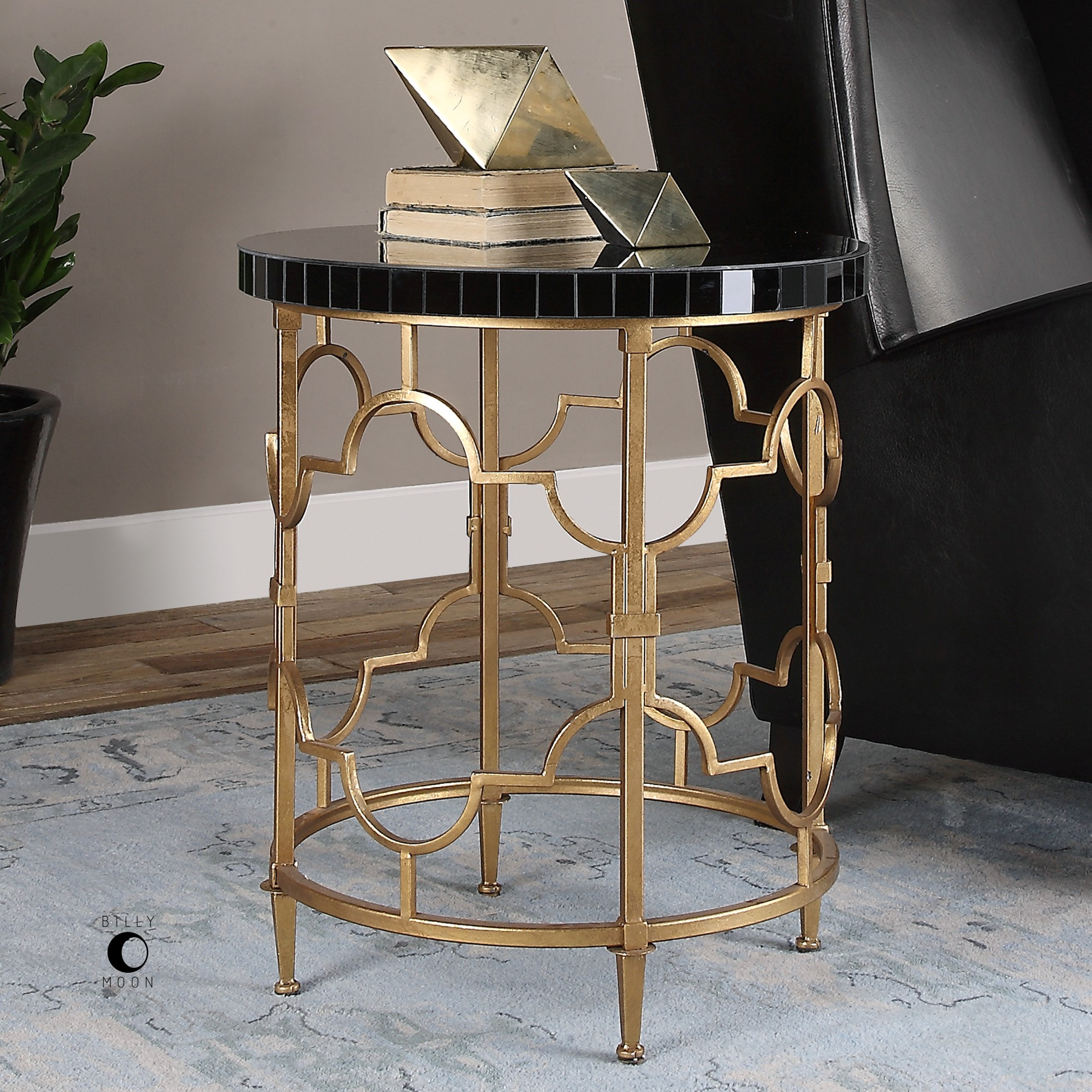 accent furniture mosi gold black accent table by uttermost