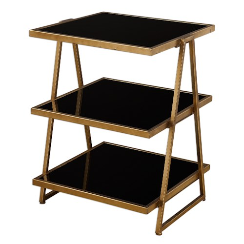 Uttermost Accent Furniture Garrity Black Glass Accent Table
