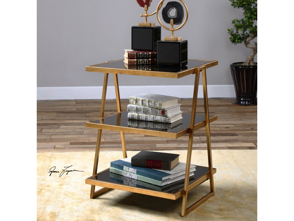 Uttermost Accent Furniture - Occasional TablesGarrity Black Glass Accent Table