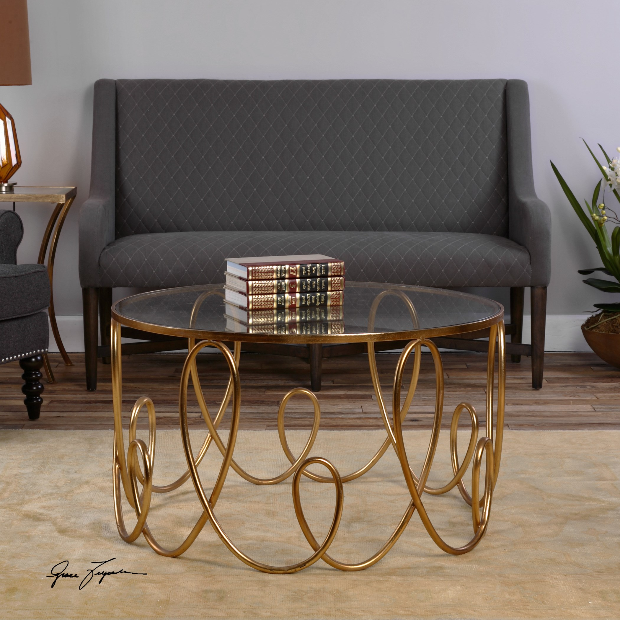 accent furniture brielle gold coffee table by uttermost