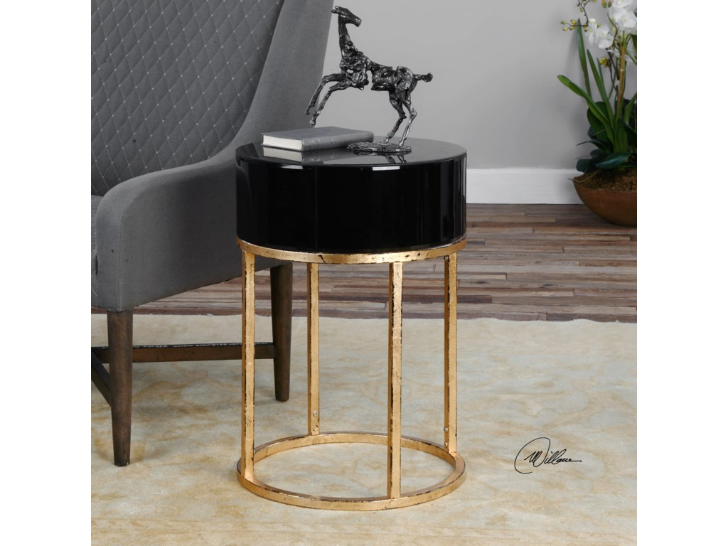 Uttermost Accent Furniture - Occasional TablesMyles Curved Black Accent Table