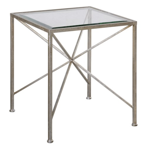 Uttermost Accent Furniture Silvana Antiqued Silver Cube Table