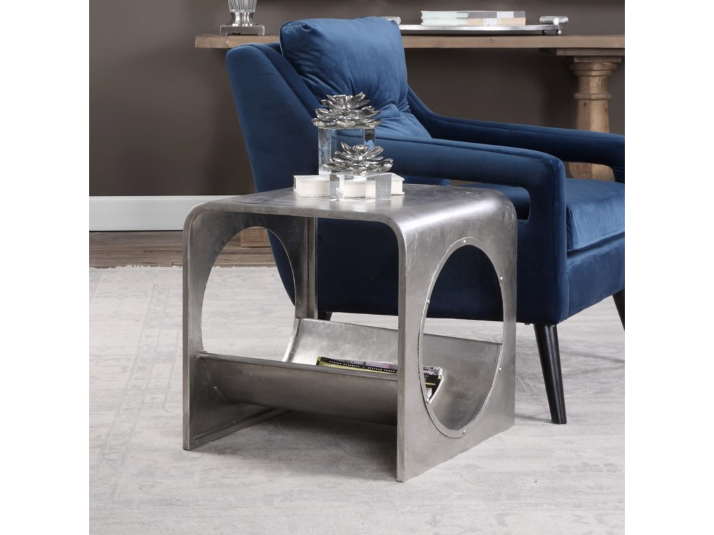 Uttermost Accent Furniture Yeager Silver End Table