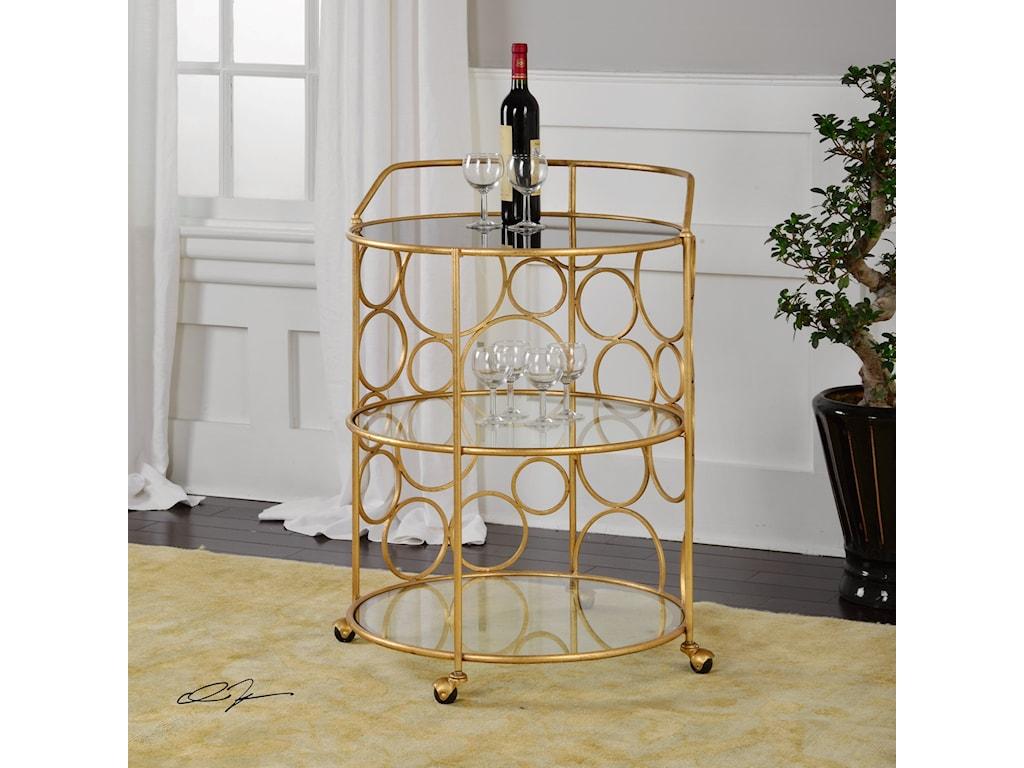 Uttermost Accent Furniture Xandra Gold Serving Cart