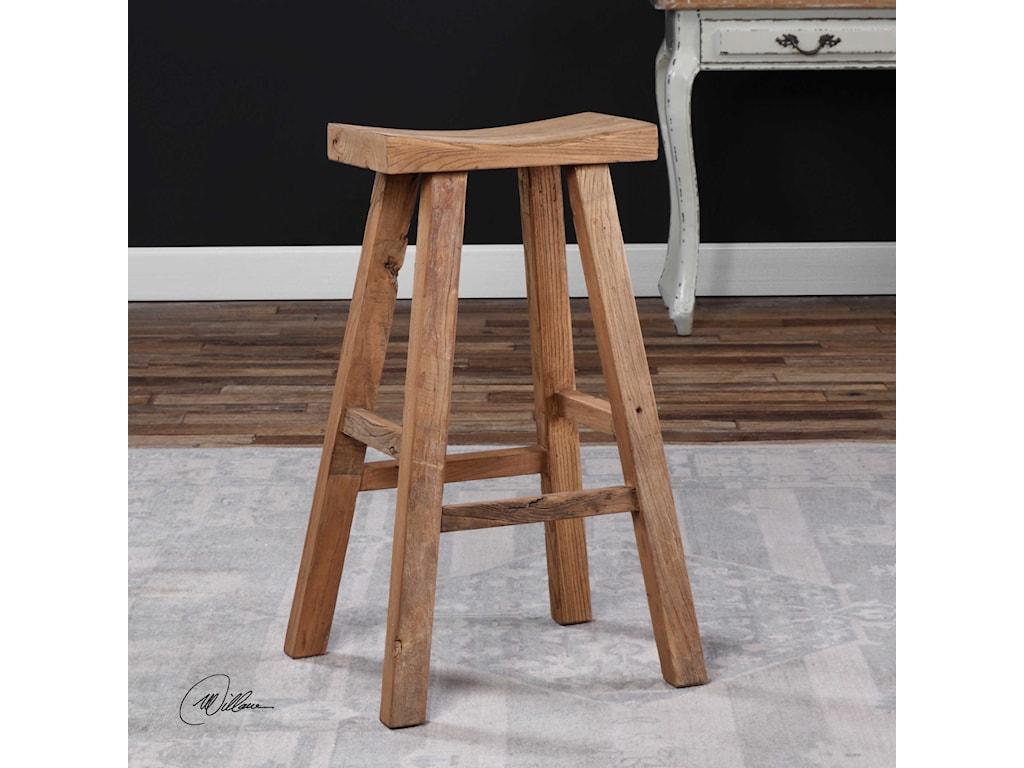 Uttermost Accent Furniture - StoolsHolt Elm Wood Bar Stool