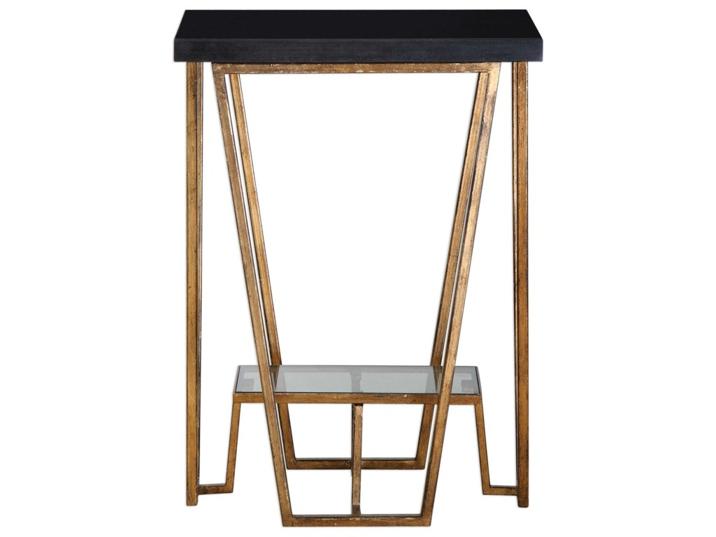 Uttermost Accent Furniture - Occasional TablesAgnes Black Granite Accent Table