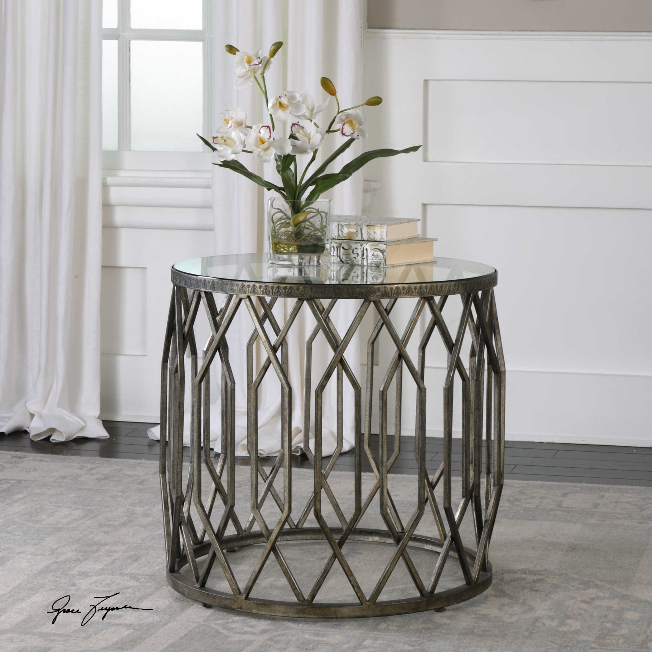 - Uttermost Accent Furniture - Occasional Tables 24741 Algoma Glass