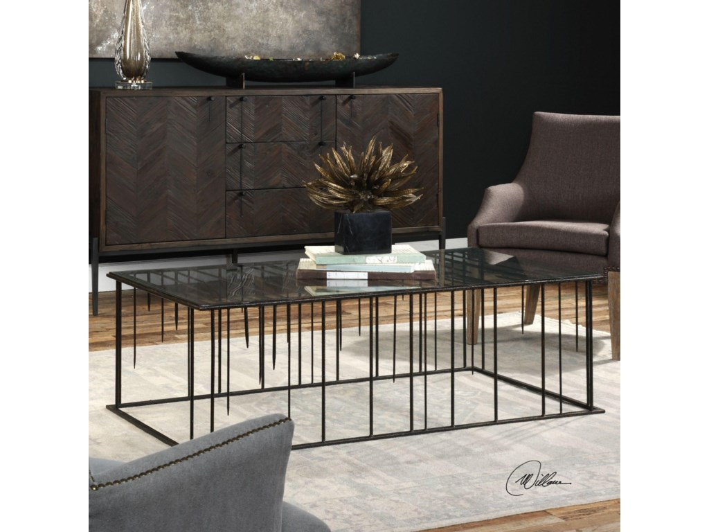 Uttermost Accent Furniture Zak Iron Stalactites Coffee Table - Uttermost driftwood coffee table