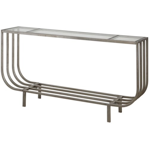 Uttermost Accent Furniture Arlice Bright Silver Console Table