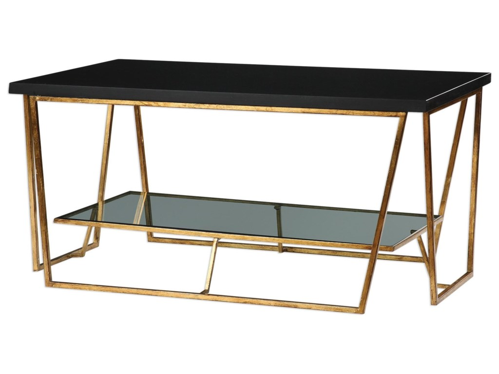 Uttermost Accent Furnitureagnes Black Granite Coffee Table