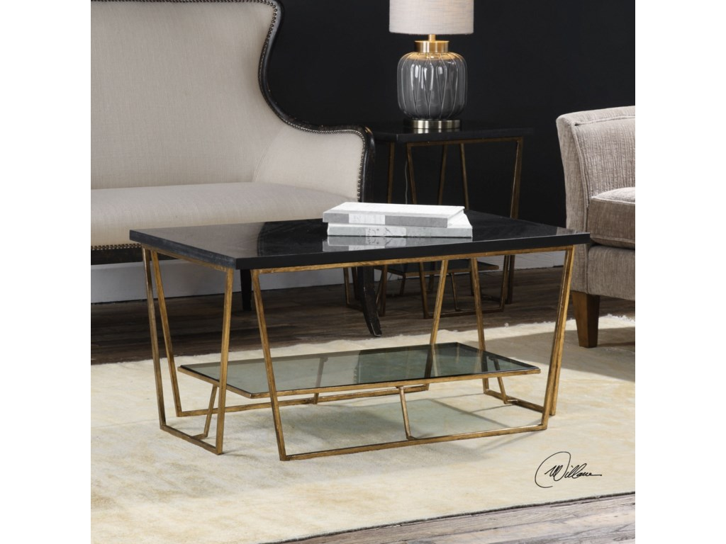 Uttermost Accent Furniture - Occasional TablesAgnes Black Granite Coffee Table