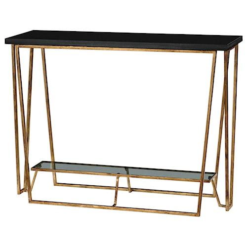 Uttermost Accent Furniture Agnes Black Granite Console Table