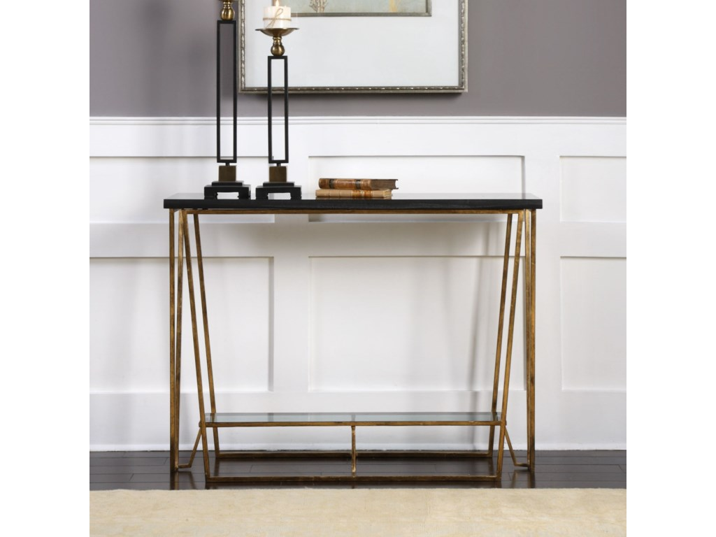 Uttermost Accent FurnitureAgnes Black Granite Console Table