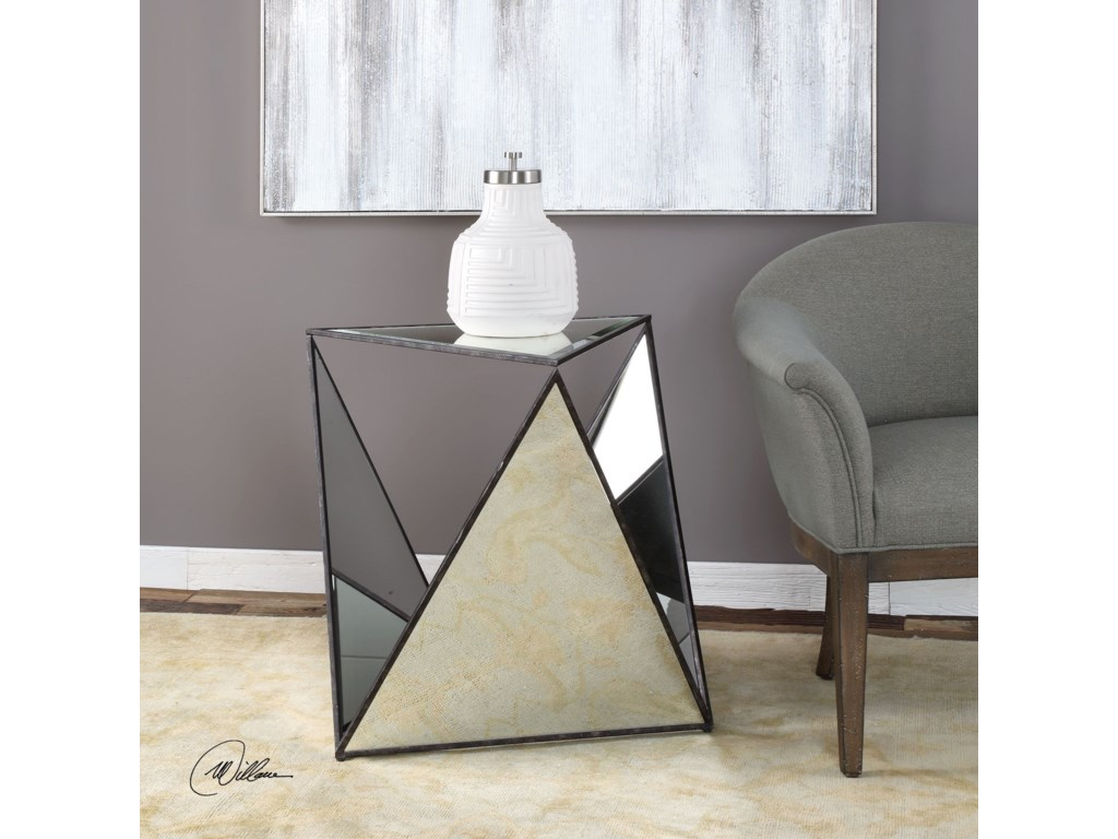 Uttermost Accent Furniture - Occasional TablesHilaire Tripod Mirrored Accent Tab