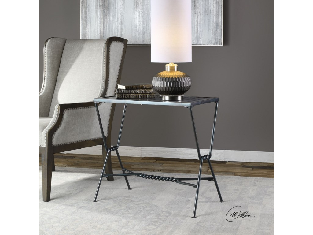 Uttermost Accent Furniture - Occasional TablesGauther Aged Steel Accent Table
