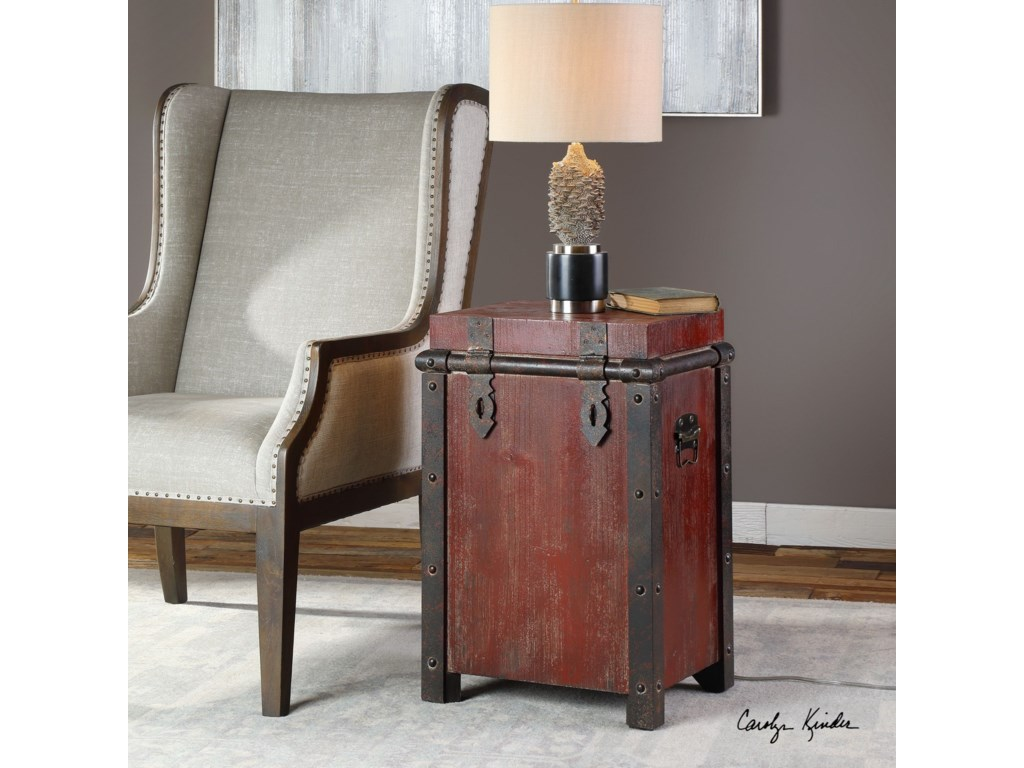 Uttermost Accent FurnitureIsaac Wine Red Accent Table
