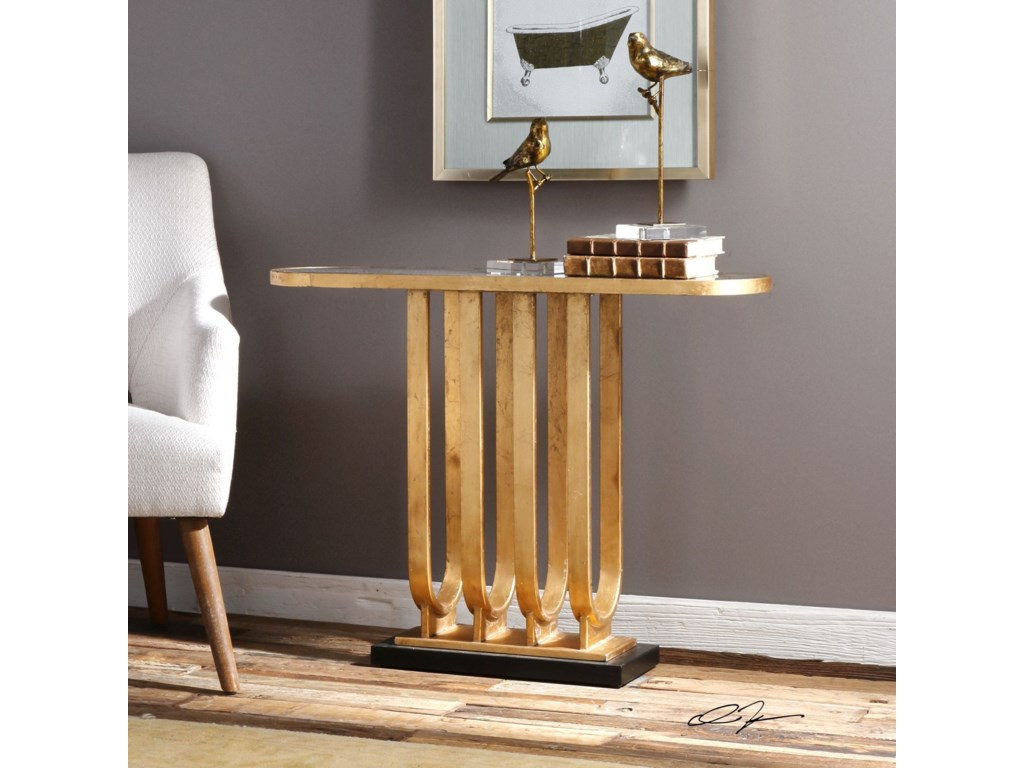 Uttermost Accent Furniture - Occasional TablesSabrina Gold Console Table