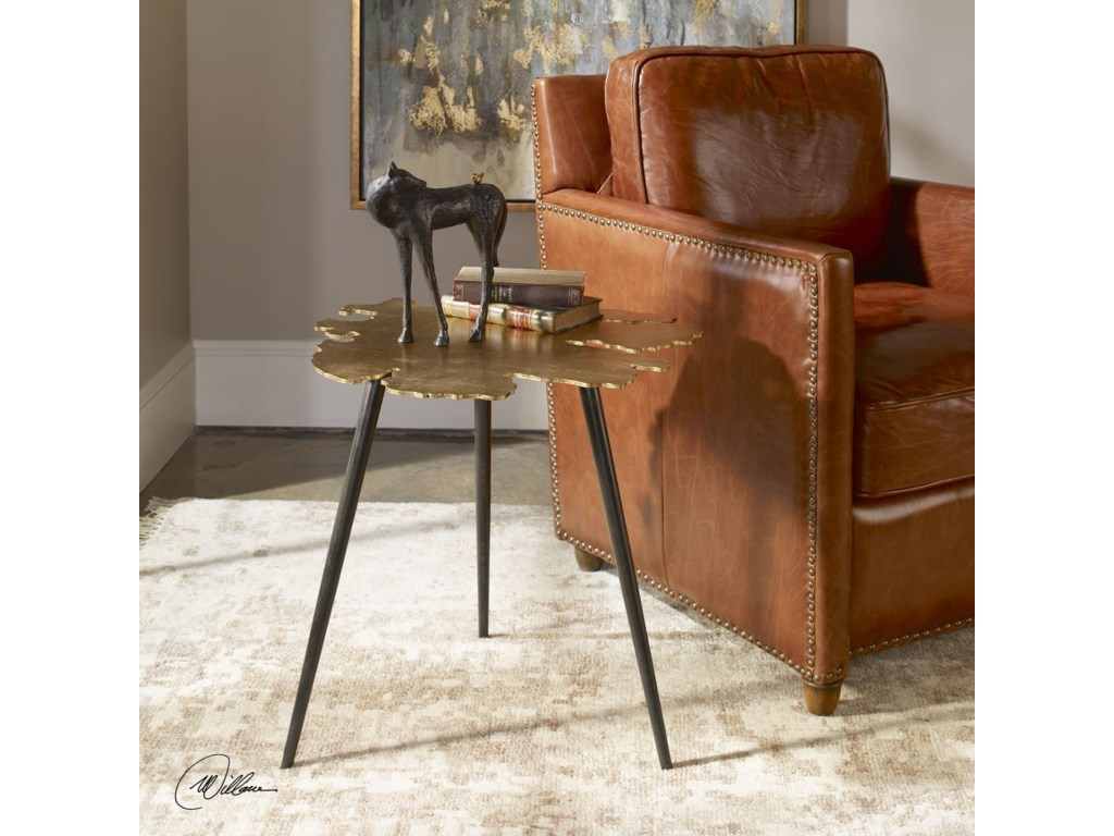 Uttermost Accent Furniture - Occasional TablesLinden Gold Leaf Accent Table