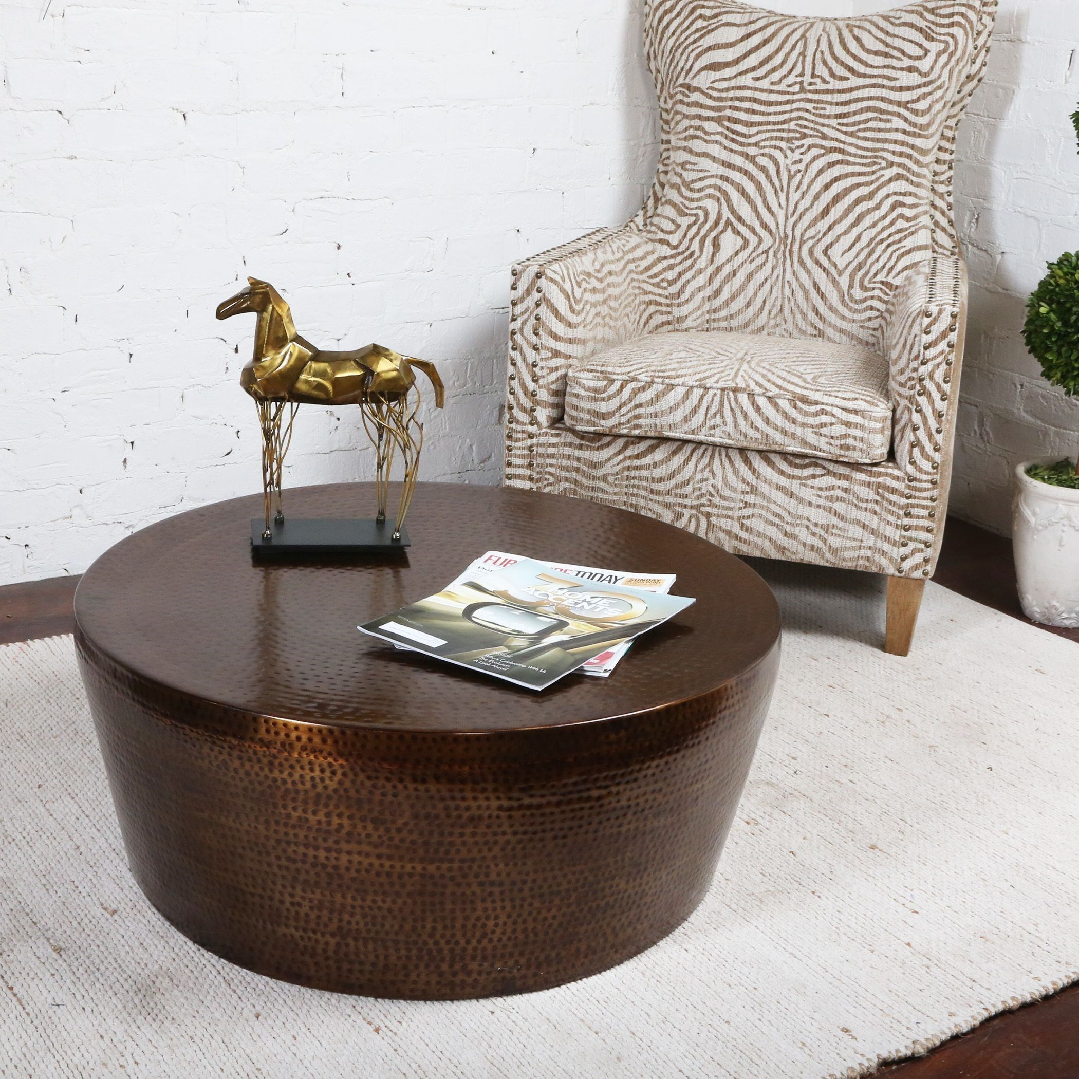 uttermost accent furniture hania hammered rustic bronze coffee table