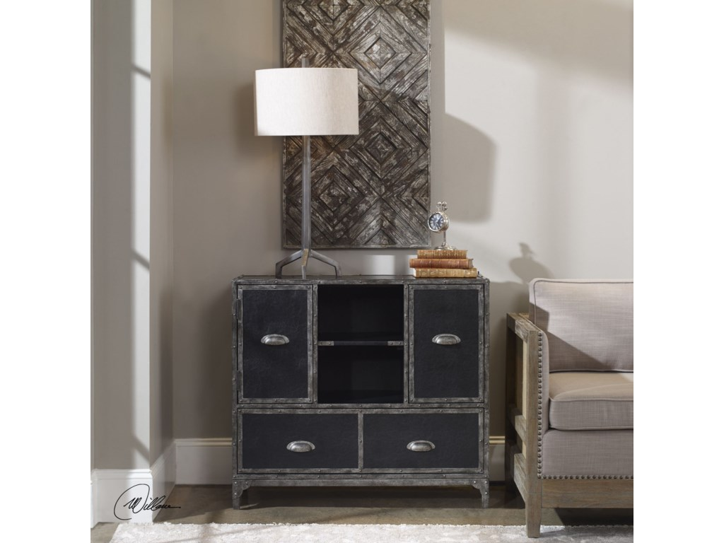 Uttermost Accent FurnitureShawn Black Leather Accent Chest