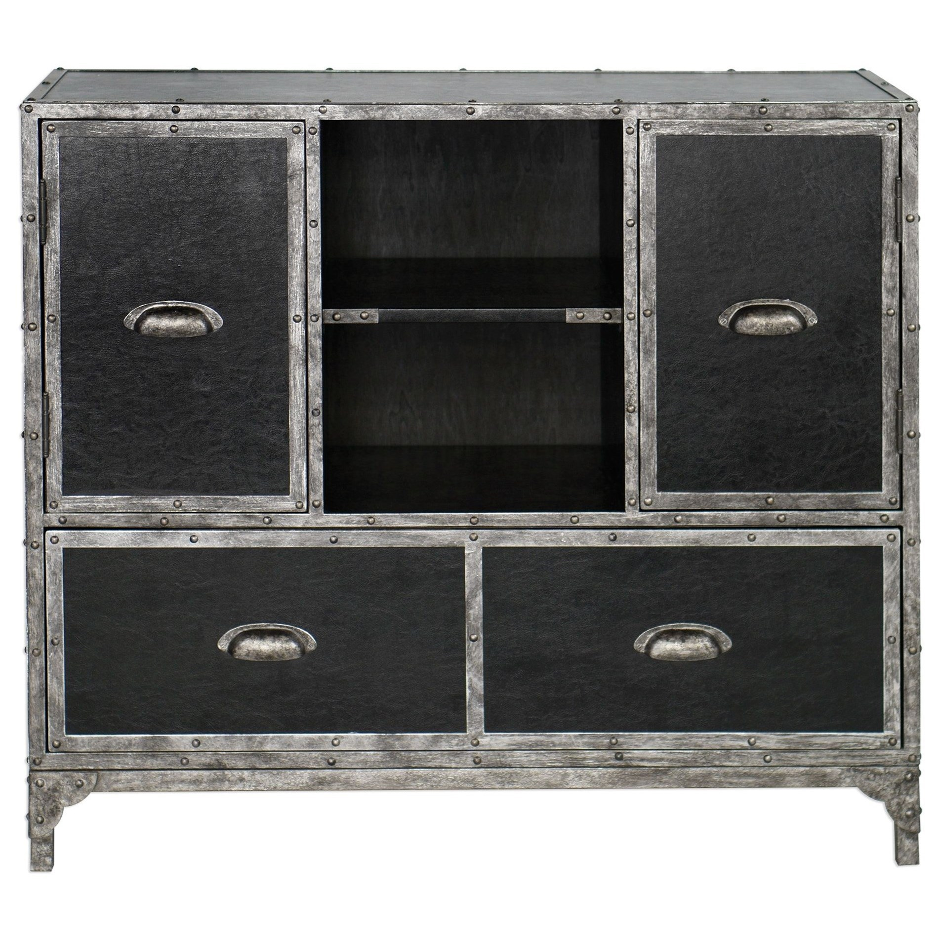 Accent Furniture   Chests Shawn Black Leather Accent Chest By Uttermost