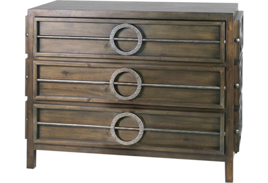 Uttermost Accent Furniture Chests 25306 Riley Weather Walnut Accent Chest Upper Room Home Furnishings Accent Chests