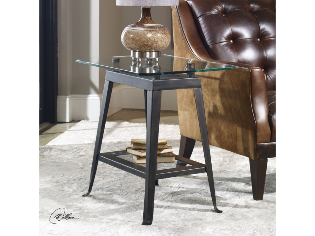 Uttermost Accent Furniture - Occasional TablesBrett Aged Bronze Lamp Table