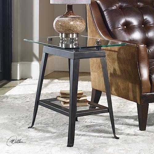 Uttermost Accent Furniture Brett Aged Bronze Lamp Table