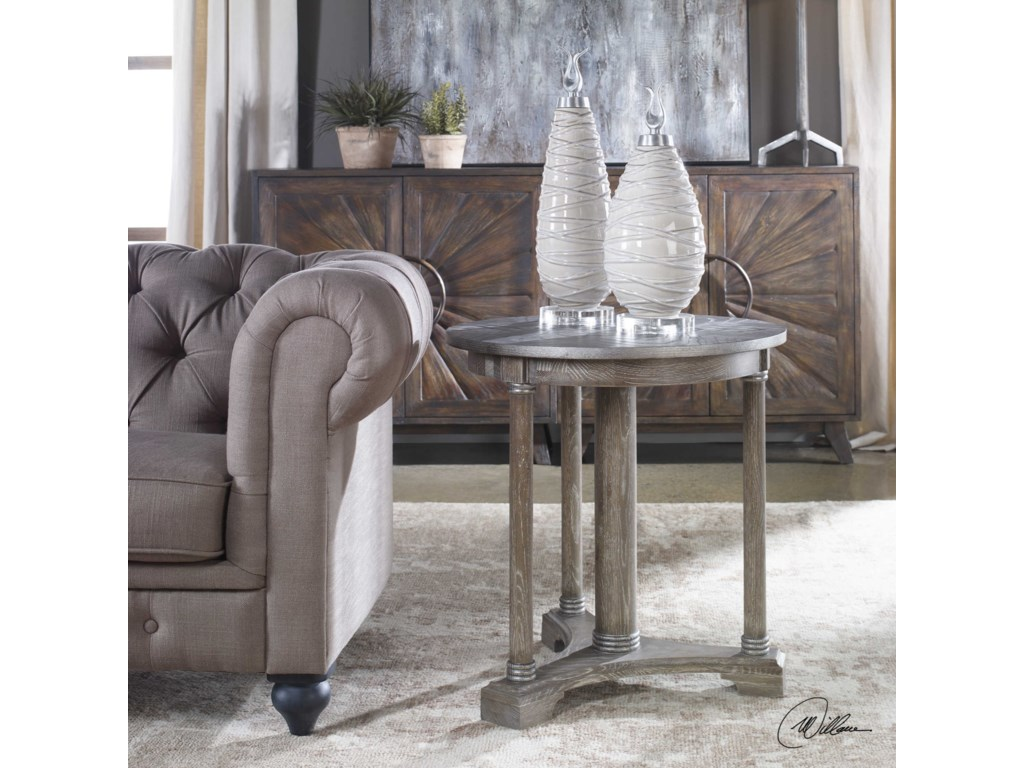 Uttermost Accent Furniture - Occasional TablesThema Weathered Gray Accent Table