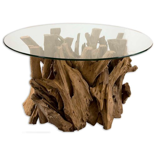 Uttermost Accent Furniture Driftwood Cocktail Table for Beach-House Cabin Furniture