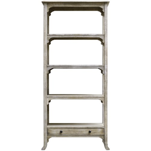 Uttermost Accent Furniture - Bookcases Bridgely Aged White Etagere